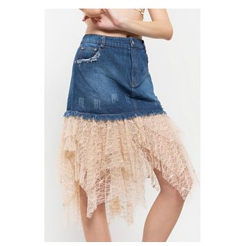 Adorable Tiered Lace Detail Denim Skirt by POL