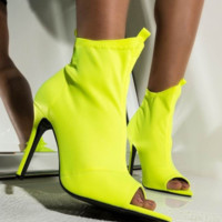 The new hot selling fluorescent stretch cloth pointed fish mouth cool boots