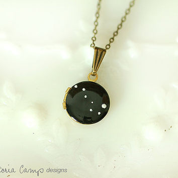 Ursa Major Necklace Big Dipper on Tiny Vintage Locket - Hand Painted - Brass Chain - Made to Order