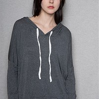 Heart & Hips Slouchy High-Low Drawstring Hoodie With Kangaroo Pocket - Charcoal