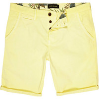 River Island MensYellow slim chino shorts