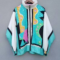 Vintage 90's inspired designer royalty baroque music art colourful polyster nylon front zippered jacket button fits size M hip hop