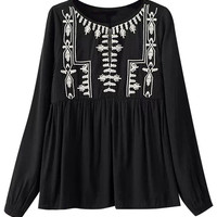 Floral Embroidered Pleated Pullover