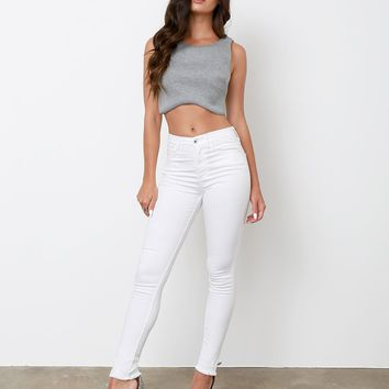 Best Time White Skinny Jeans High-Waist