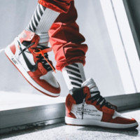 OFF-WHITE x Air Jordan 1 joint name personality wild men and women models high-top shoes