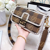 FENDI canvas messenger bag retro style portable crossbody bag Baguette Sewing thread edge Coffee