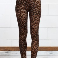 High Waisted Plush Animal Print Leggings {Brown Mix}