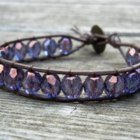 Beaded Leather Single Wrap Stackable Bracelet with Purple Czech Glass Beads on Genuine Black or Brown Leather