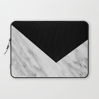Black Marble Collage Laptop Sleeve by Cafelab
