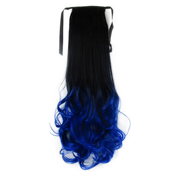 Gradient Ramp Horsetail Wig Lace-up Double Colors   14#