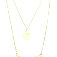 NECKLACE / NATURAL STONE / AND PEARL / DOUBLE LAYERED / LINK / CHAIN / 18 INCH LONG / 2 3/4 INCH DROP / NICKEL AND LEAD COMPLIANT