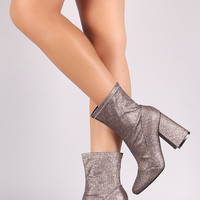 Glitter Accent Chunky Heeled Booties