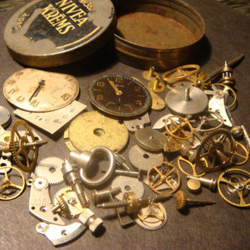 Steampunk Supplies -Watch Wheels,Gears, Watch Faces and MORE-Assemlage, Scrapbooking  - Antique Watch Parts for Jewelry, Altered Art (531)