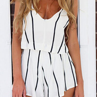 White Striped Sleeveless Romper