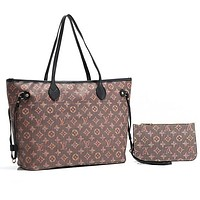 Louis Vuitton LV Women Shopping Bag Tote Handbag Shoulder Bag Purse Wallet Set Two-Piece
