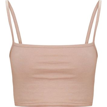 Taupe Jersey Square Neck Crop Top