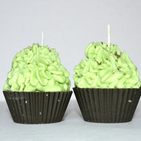 Mint Chocolate Cupcake Candle - Peppermint Patty Cupcake Candle
