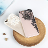 Retro Lace Flowers Mobile Phone Case For Iphone 7 5 5S Se 6 6S 6Plus 6S Plus