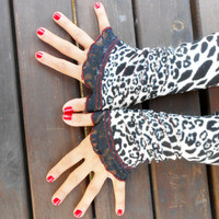 Gloves leopard, leopard polar gloves, fingerless gloves, black white leopard gloves, hippie gloves, fingerless gloves, sexy leopard gloves