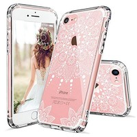 iPhone 7 Case, iPhone 7 Clear Case, MOSNOVO White Henna Mandala Floral Lace Clear Design Printed Transparent Hard Case with TPU Bumper Protective Back Case Cover for iPhone 7 (2016)