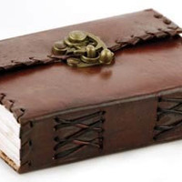 Customize Poetry Handmade Leather Journal Diary Notebook Sketchbook Book Handmade Paper with Cast Brass Lock