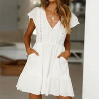 Boho Hollow Out White Linen Dress Women Sexy V Neck A Line Ruffles Beach Sundress Party Dress Casual Streetwear