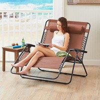 Zero Gravity Loveseat Lounge Chair Reclines Water Resistant Removable Pillow