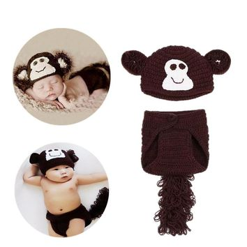 Cartoon Cute Newborn Baby Beanie Knitting Coffee Handmade Infant Suit Monkey Clothes Diaper Cover Photography Custume