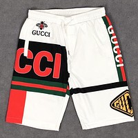 GUCCI New fashion letter bee print couple shorts White