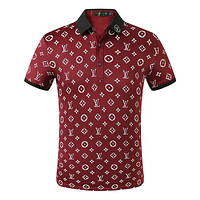 LV New fashion monogram print lapel couple top t-shirt Burgundy