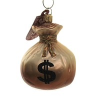 Holiday Ornaments Bag Of Money Dollars Coins Bills - A1026