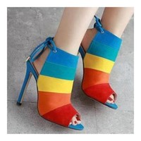 Chromatic Color Rainbow High Heel Sandals Gladiator Stiletto Shoes Summer Boot