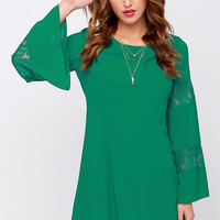 Canterbury Bells Green Long Sleeve Dress