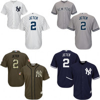 Youth White grey blue Derek Jeter Authentic Jersey , kids #2 New York Yankees Cool Base Home baseball jersey