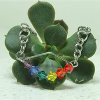 Rainbow Crystal angled bar bracelet hand linked jewelry 7 1/2""