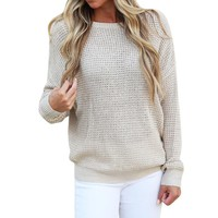 MUQGEW Top Quality Sexy Womens Long Sleeve Backless Knitting Sweaters Casual Blouse Tops womens clothing blusas femininas