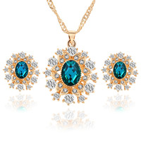 Snowflake Crystal Earrings Necklaces Jewelry Set 3 Colors