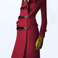 Red Pockets Buttons Long Sleeve Long Coat