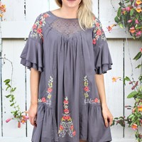 Layered Ruffles + Floral Embroidered Dress {Grey}