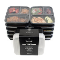 3 Compartment   Food Storage Containers with Lids,, Bento Box Lunch Box Picnic Food Storage Box Microwave and Dishwasher Safe