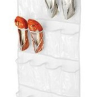 Honey-Can-Do SFT-01242 Over The Door Shoe Organizer, White, 24-Pocket