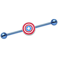 Blue Anodized Steel Officially Licensed Marvel Comics Captain America Logo Industrial Barbell 35mm