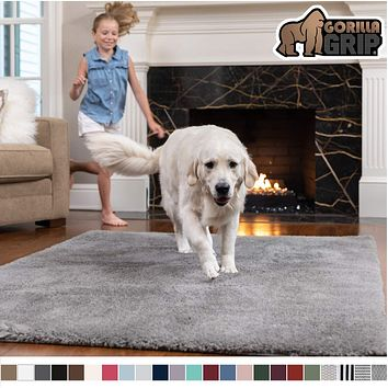 Gorilla Grip Original Faux-Chinchilla Area Rug, 7.5x10 Feet, Super Soft and Cozy High Pile Washable Carpet, Modern Floor Rugs, Luxury Shaggy Carpets for Home, Nursery, Bed and Living Room, Dark Gray 7.5 Feet x 10 Feet