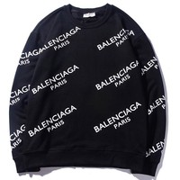 Balenciaga 2018 autumn new full printed letter logo round neck pullover sweater Black