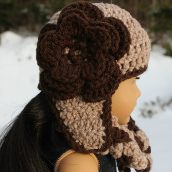 brown and beige crochet beanie hat with ear flaps and flower,braided infinity scarf,18 inch doll clothes