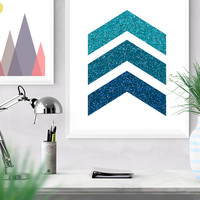 Chevron Arrow Printable, Faux Glittering Geometrical art, wall art print, Bedroom decor, Blue chevron arrows, Blue decor, Geometric print