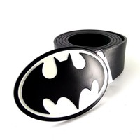 Black leather belt men with DC Superhero batman  belt buckle