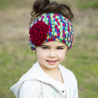 Messy Bun Hat -ponytail hat - Messy Bun Beanie - Ponytail Beanie - Bun hat with flower - Messy Bun Hat Girls -  Girls hats -  Spring hat