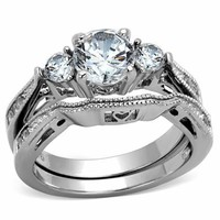 2.48ct Women's Round Cut Stainless Steel AAA CZ Wedding Band Ring Set Size 5-10