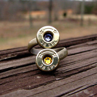 Bullet Ring- Birthstone Ring- Personalized- Couples Ring- Eco Friendly- His and Hers- Boyfriend- Girlfriend- Ammo Ring- Bullet Jewelry- Moms